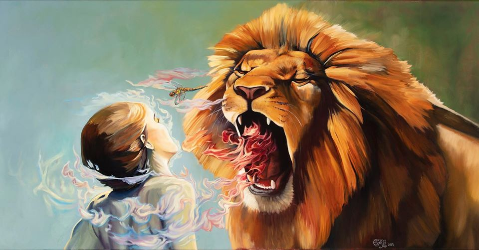 prophetic commissioning: a painting of a lion roaring over a woman, with colorful bands surrounding her